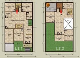 Gambar Desain Denah Rumah Tingkat type 45