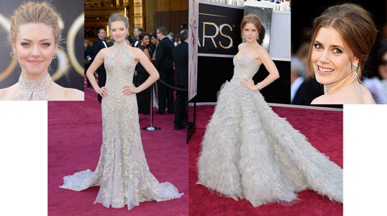 Amanda Seyfried in Alexander McQueen and Amy Adams in Oscar de la Renta
