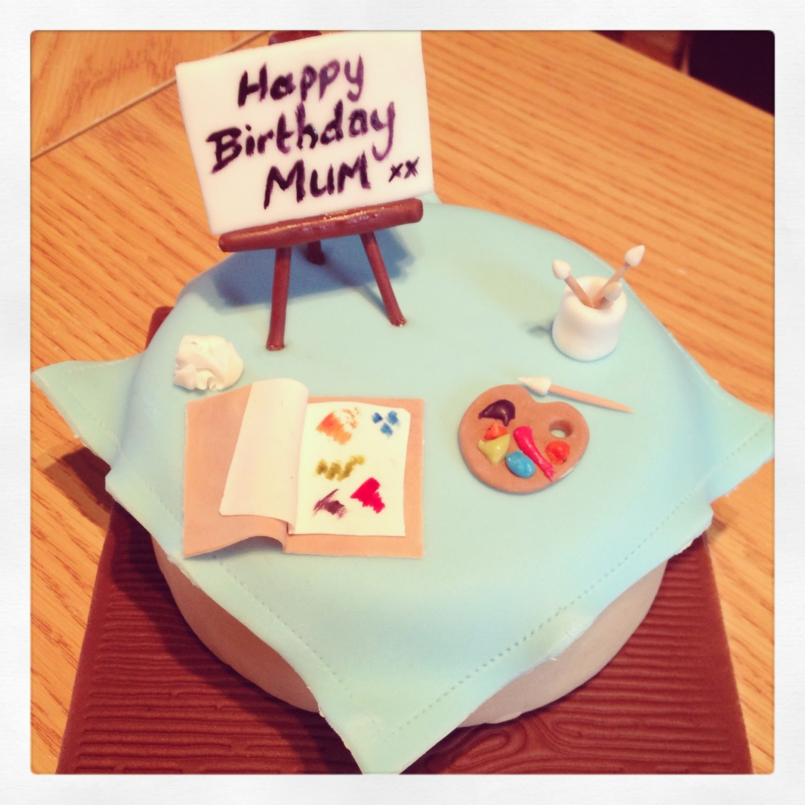 Artist Cake, Fondant Easel, Fondant Paintbrush, Fondant Paint Pallet