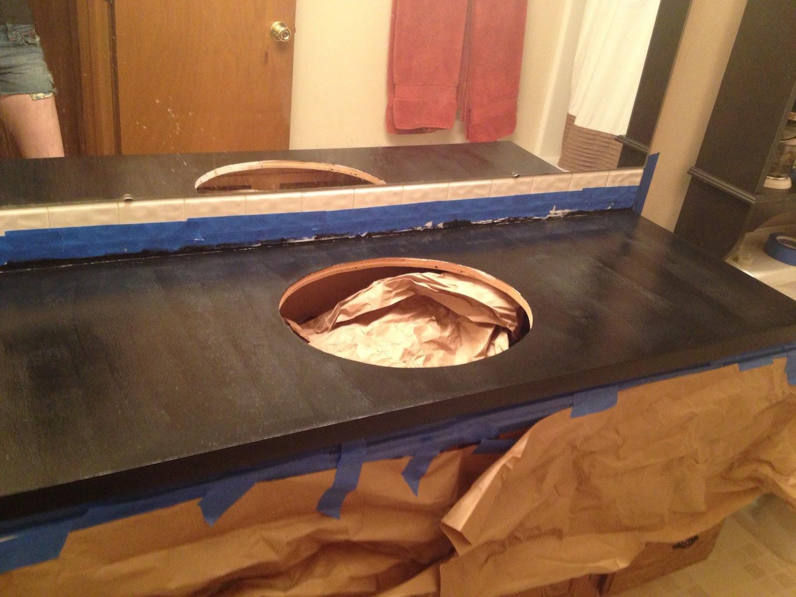 Metallic Countertop Paint : step 3 black paint step four sponge on metallic paint
