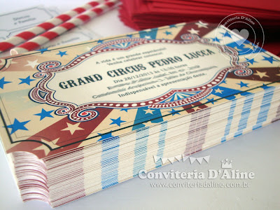 convite tema circo vintage