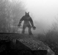 hombre lobo perro sobre un tejado