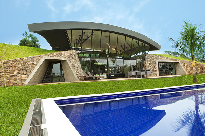 Two Unusual Partially Submerged Modern Homes Create A Green Paradise In  Paraguay. - if it's hip, it's here