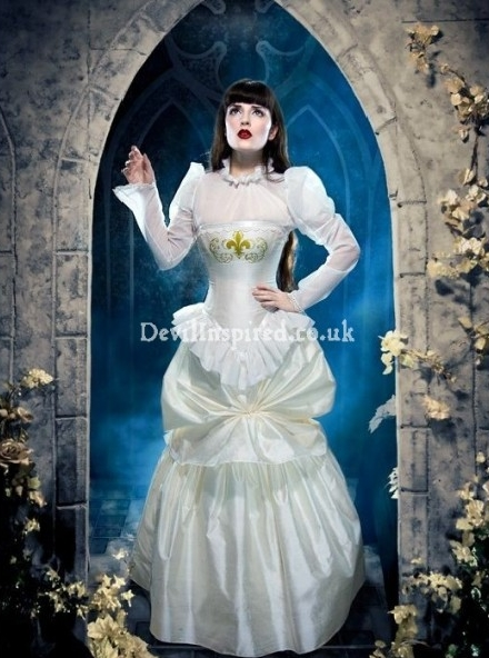 White Ruffle and Bow Gothic Victorian Wedding Dress