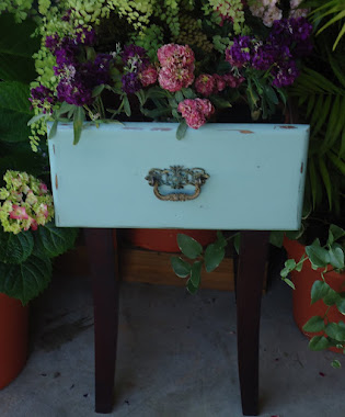 Repurposed Desk Drawer and Vintage Cabinet Hardware to Plant Stand - $75.00