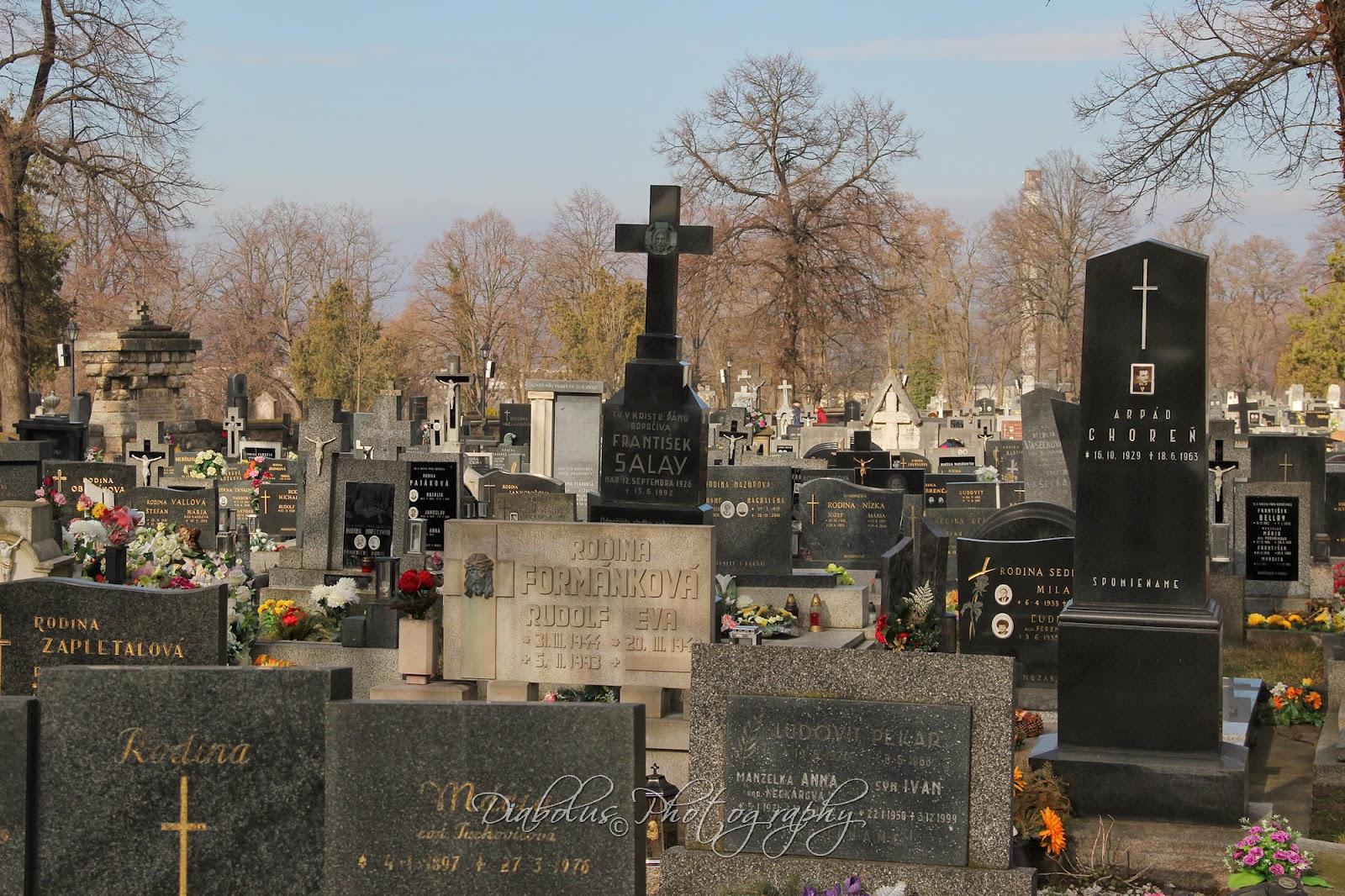 Hroby na hřbitově