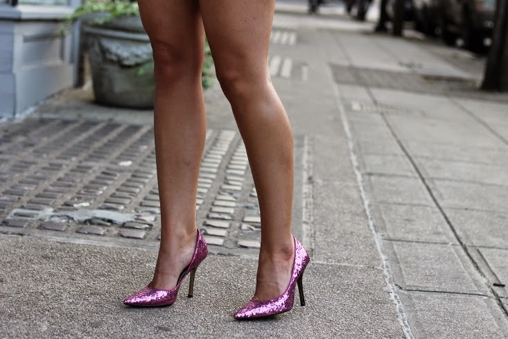 Hot Pink Glitter Pointed Toe Pumps