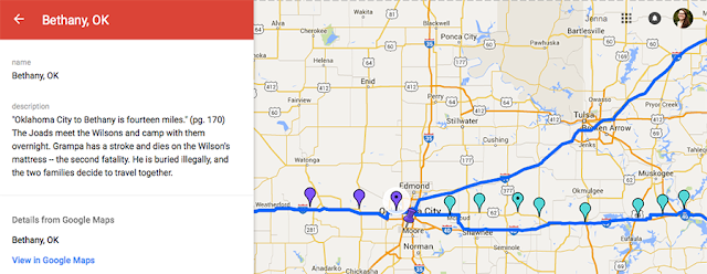 """A google maps screen that is focused on Tulsa, Oklahoma, with a blue line following Route 66. There are many multi-color pinpoints along the path. On the left the following text appears: """"Oklahoma City to Bethany is fourteen miles."""" (pg. 170). The Joads meet the Wilsons and camp with them overnight. Grampa has a stroke and dies on the Wilson's mattress -- the second fatality. He is buried illegally, and the two families decide to travel together."""