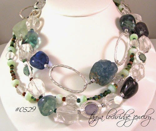 Fluorite - Rough & Poliished, Crystal Quartz Gemstone & Pearl Necklace