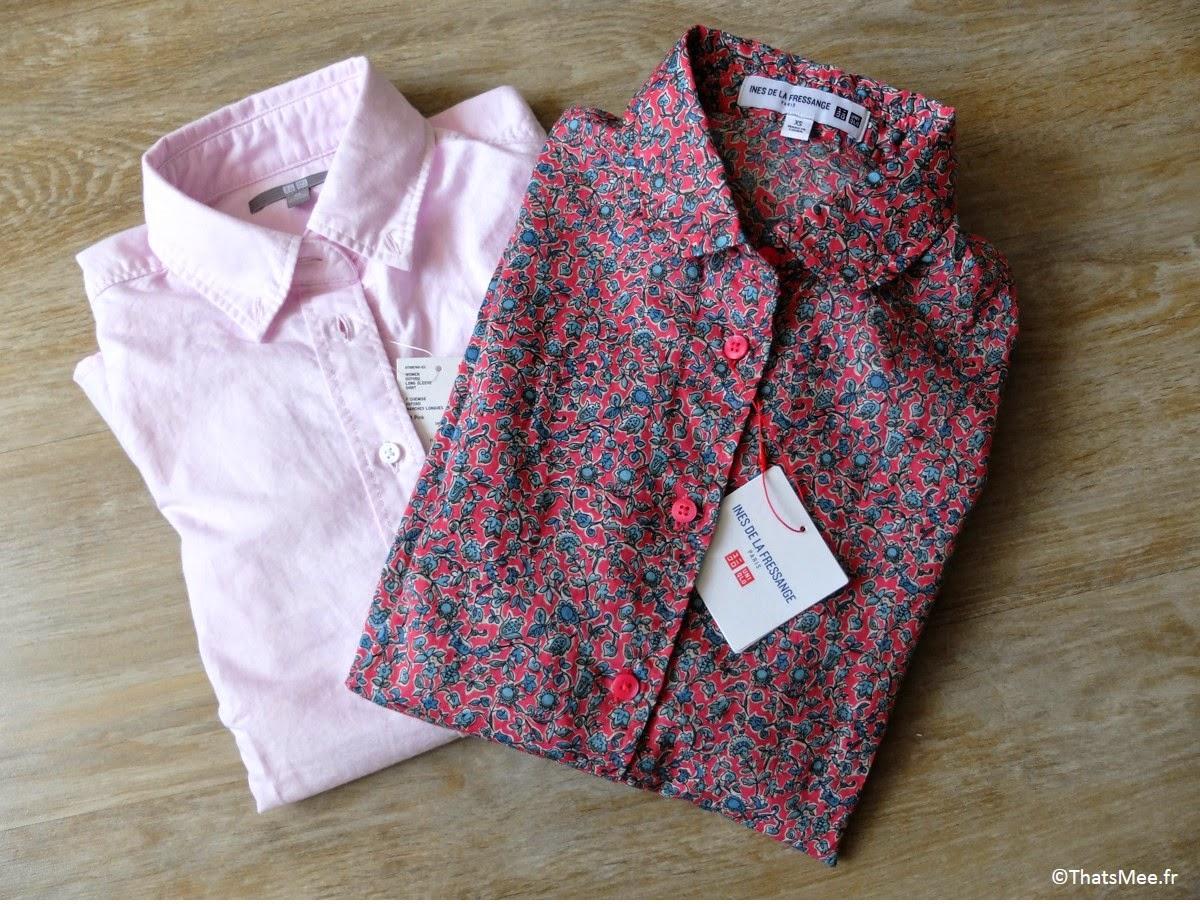 Chemise Ines de la Fressange x Uniqlo  chemise fleurie coton, chemise rose Oxford coton Uniqlo ThatsMee.fr