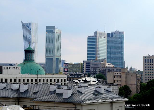 widok panorama Warszawa wieżowce