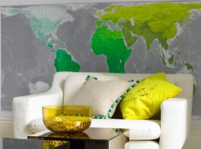 Parede com mapa em tons verde