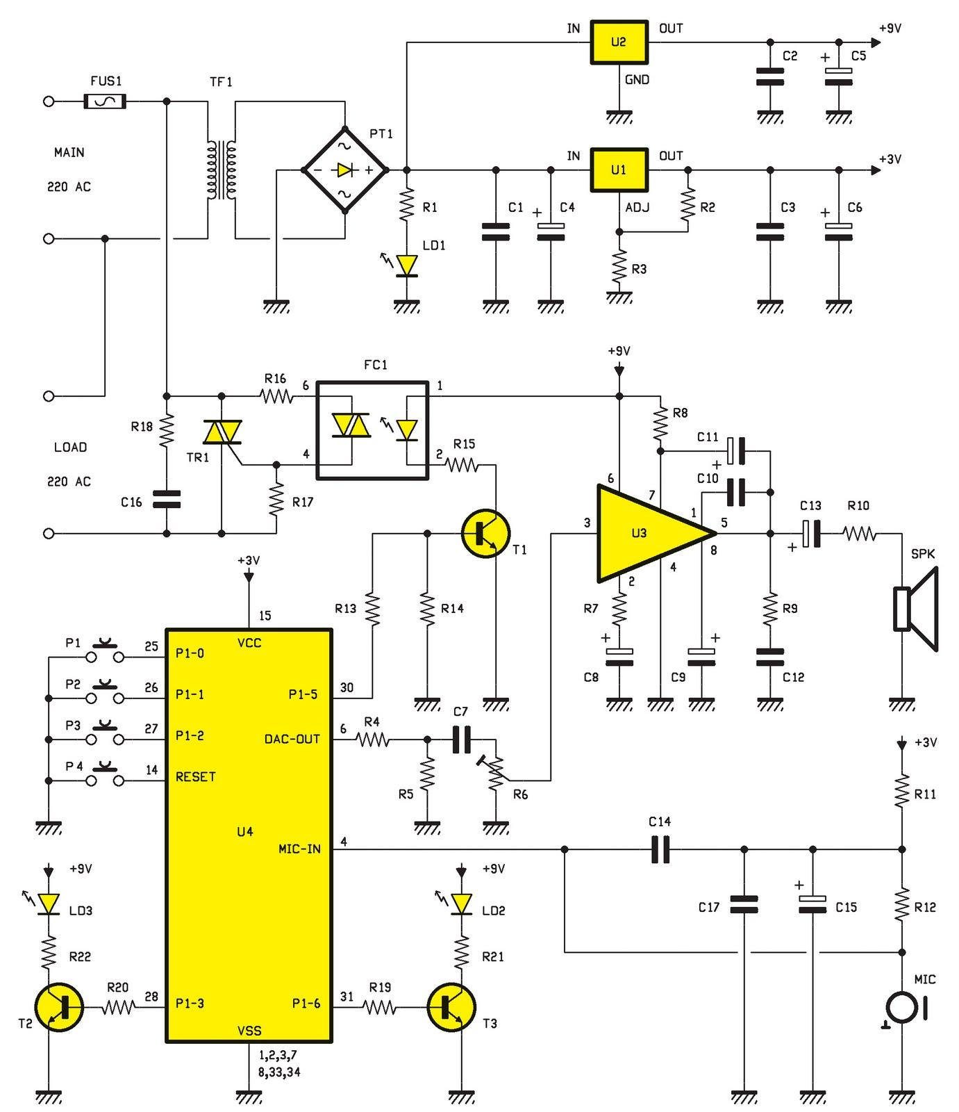 une commande vocale pour lampe ou autre charge schema electronique net. Black Bedroom Furniture Sets. Home Design Ideas