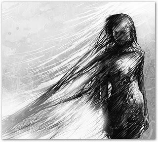 Falo e ouço apenas o eco de mim  Meus olhos cismam enevoados  Sombras bailam difusas  Um contorcionismo sem fim