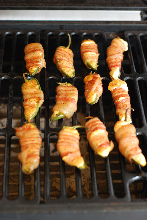 bacon wrapped cheese stuffed jalapenos on the grill
