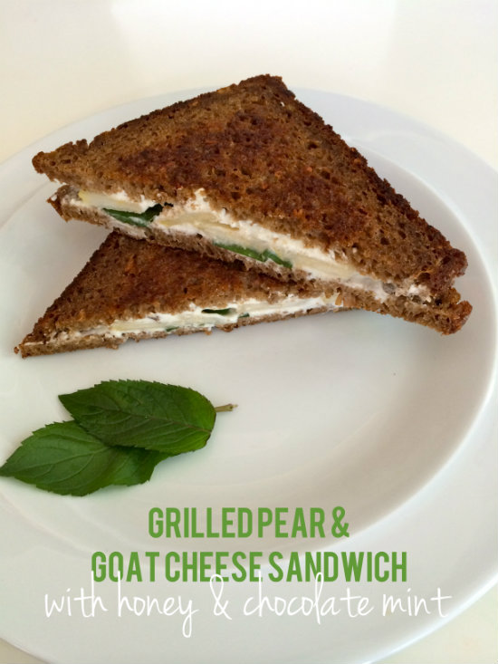 Grilled Pear & Goat Cheese Sandwich with honey and chocolate mint
