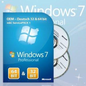 Windows 7 Professional 32 & 64Bit Refurbished inkl. Service Pack 1 DE (CD-ROM) bei Amazon für 36,88 Euro