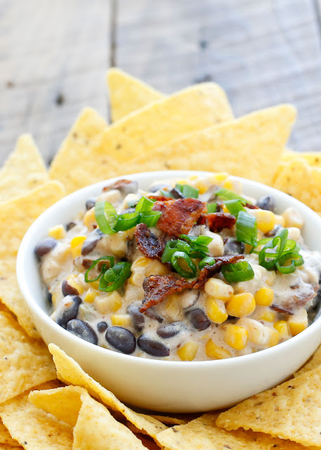 {Slow-Cooker} Hot Corn and Black Bean Dip - get the recipe at barefeetinthekitchen.com