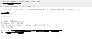 MYFREECOPYRIGHT - email about Blog post copyright