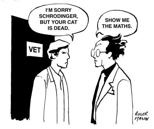 Roger Mason, illustrator: Schrodinger's Cat cartoon