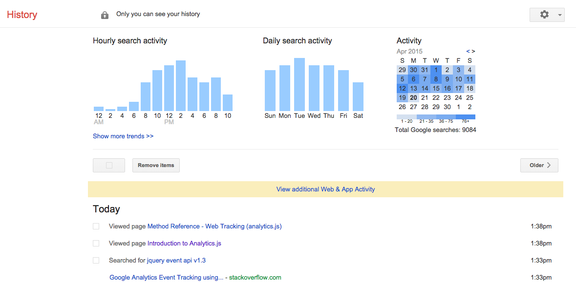 how to find your history on google