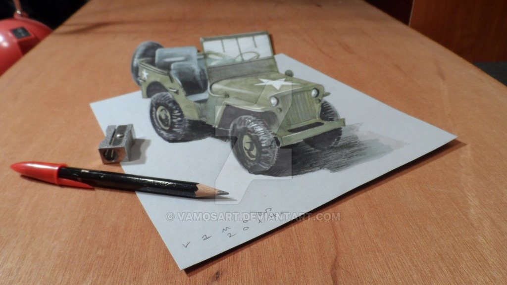 09-Willys Jeep-Sandor-Vamos-3D-Optical-Illusions-Anamorphic-Drawings-Videos-www-designstack-co