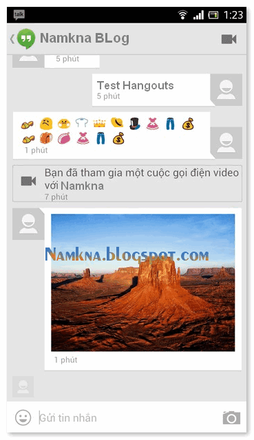 Giao diện chat Hangouts trên Android