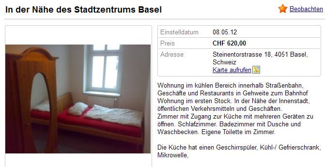 in der n he des stadtzentrums basel steinentorstrasse 18 4051. Black Bedroom Furniture Sets. Home Design Ideas