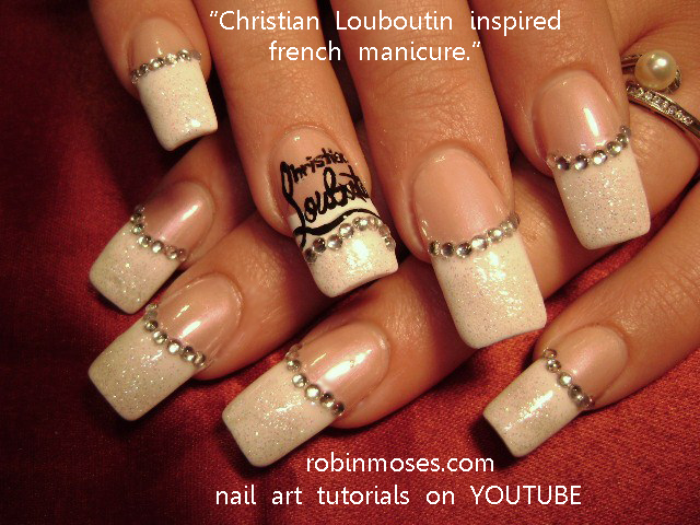 CHRISTIAN LOUBOUTIN nail art tutorial, INDIAN WEDDING red and gold nail art  design, black and silver FLEUR DE LIS nail art, designs for wednesday. - CHRISTIAN LOUBOUTIN Nail Art Tutorial, INDIAN WEDDING Red And Gold