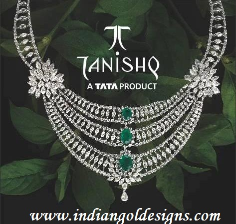 Checkout tanishq diamond bridal necklace studded with emeralds