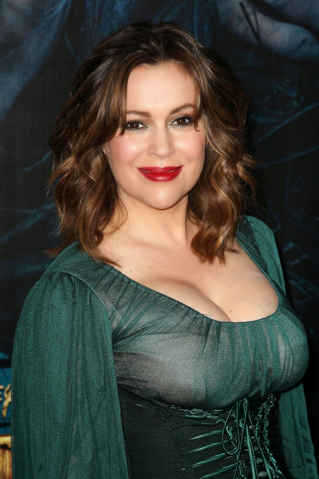 Alyssa Milano flaunts cleavage at the 'Into the Woods' NYC Premiere