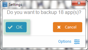 prompt window: do you want to backup 18 apps