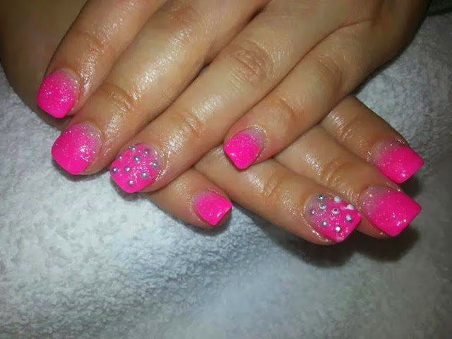 acrylic backfill; neon pink acrylic ombre overlay nails art design
