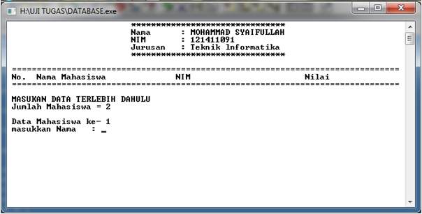 SOURCE CODE Program Input Data Mahasiswa C++