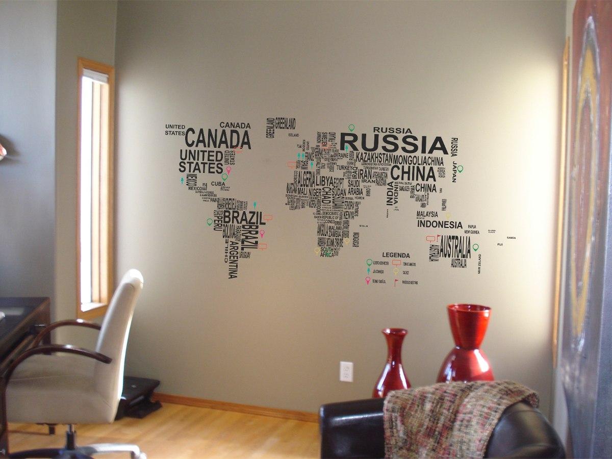 Adesivo De Parede Mapa Mundi ~ Novo modelo também em promoç u00e3o mapa mundi letrinhas adesivo de parede Tudo sobre adesivos