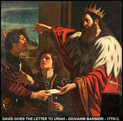 David gives the letter to Uriah - Giovanni Barbieri - 17th Century