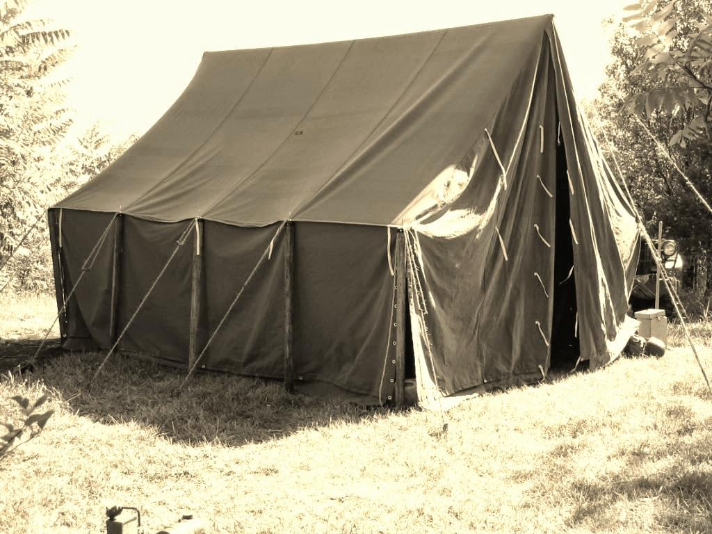 1917 US Large Wall Tent $2400. Wooden Pole and Stake Kit $775. Splice kit for 3 poles $150. Tent Fly For Large Wall $800 & Armbruster Manufacturing Co. | World War One Tent Pricing