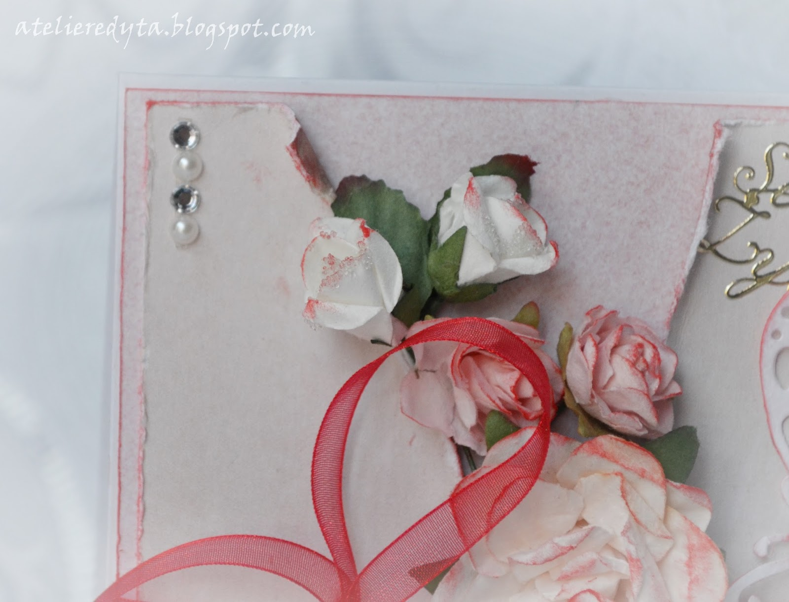 Kartka urodzinowa czerwona ręcznie robiona, scrapbooking