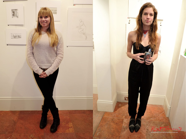 Two outfits with black pants and boots - Art Opening - Street Fashion Sydney