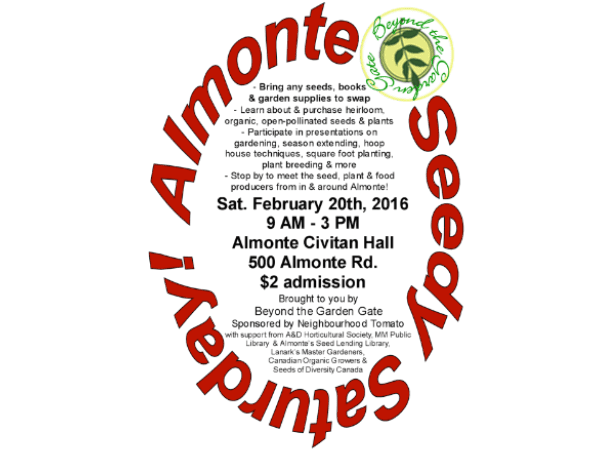 Lanark County Master Gardeners Seedy Saturday Almonte