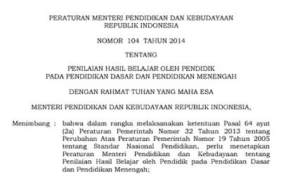 Permendikbud nomor 104 tahun 2014