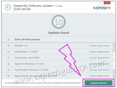 Kaspersky Software Update Selection