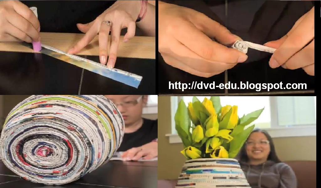 Membuat vas bunga menggunakan kertas koran daur ulang
