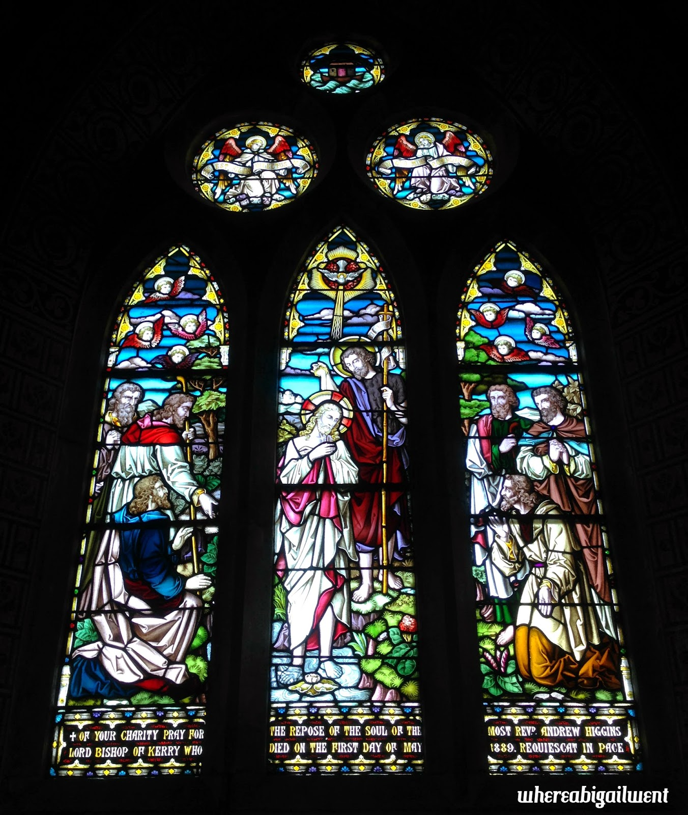The baptism of Jesus stained glass window