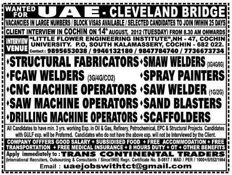 Uae Fabricator Welder Jobs Gulf Jobs For Malayalees