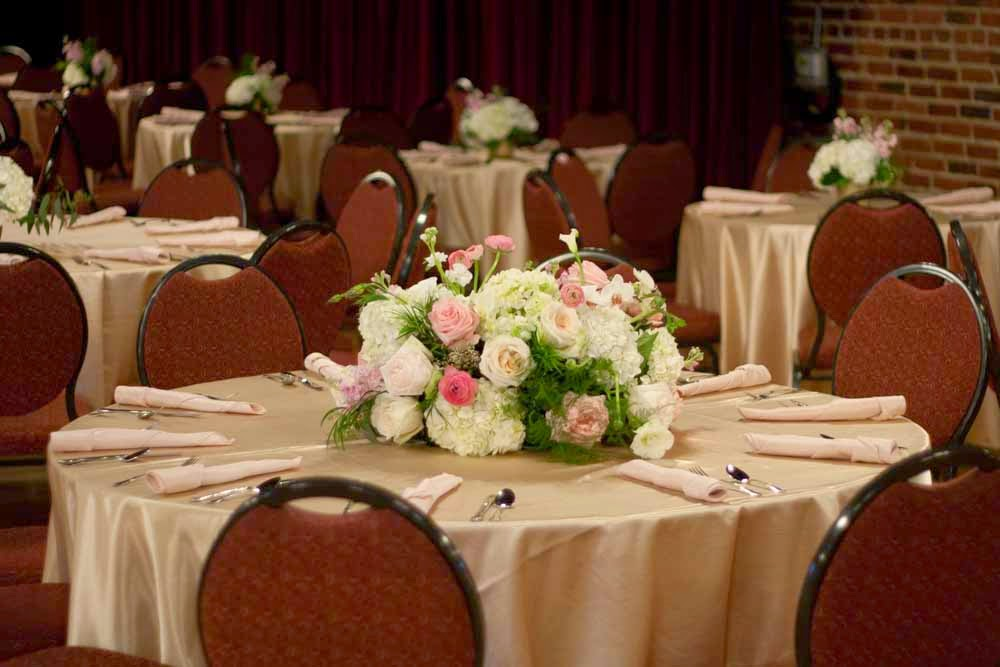 Elite Events Rental Provided The Rentals For This Romantic Gold And Blush Wedding Reception At DelRay Ballroom In Lincoln Nebraska