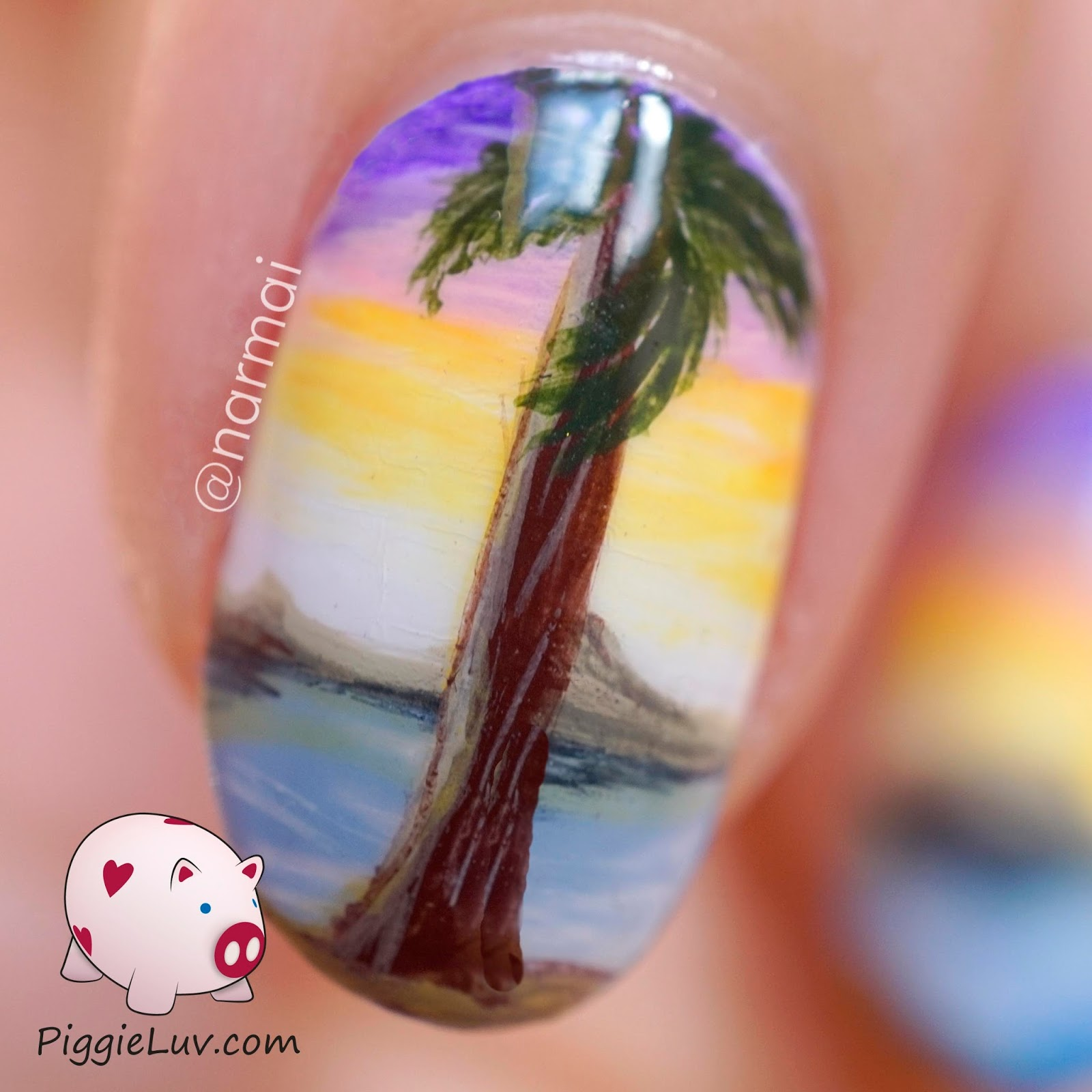 Piggieluv View From A Tropical Beach Freehand Nail Art