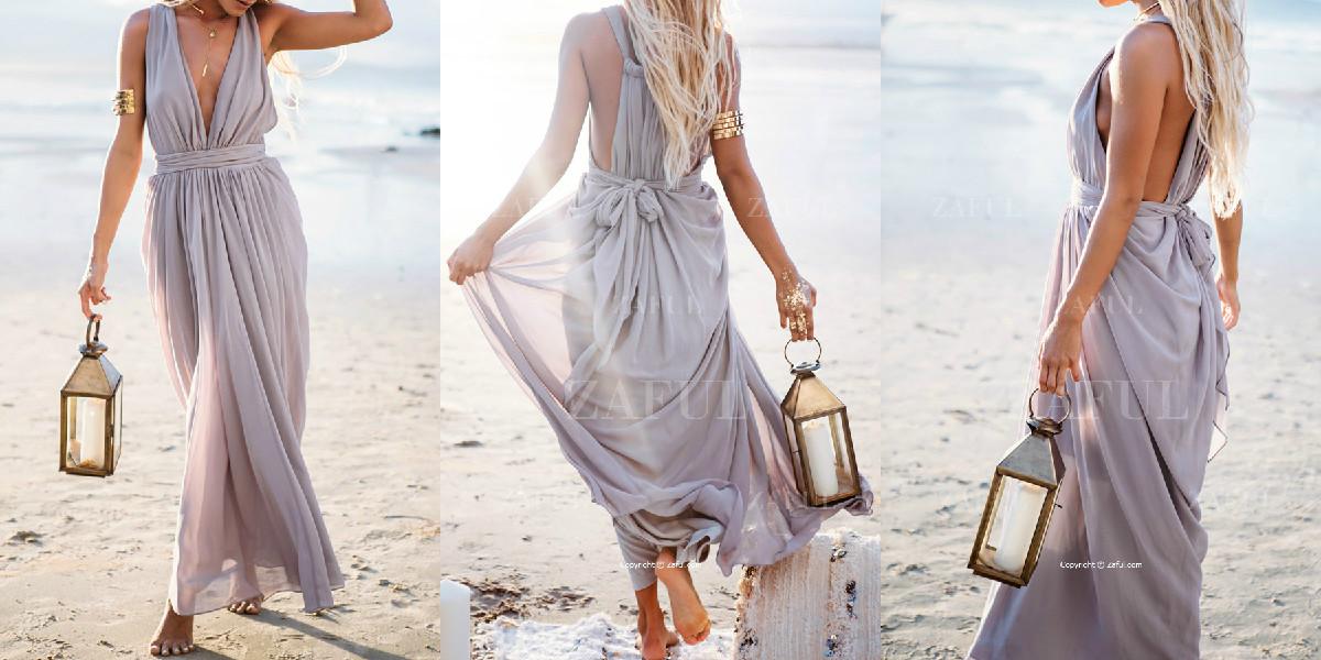 Plunging V-Neck Maxi Dress