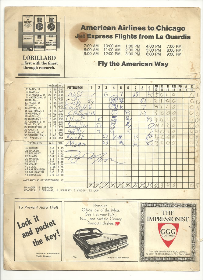 9/20/69 Bob Moose no-hitter signed scorecard