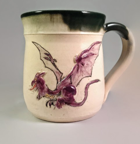 Purple Dragon in Relief on Stein by Future Relics Pottery